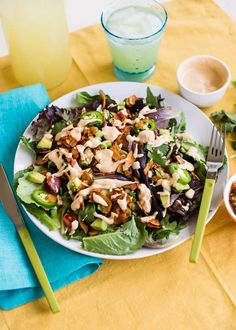 Vegan Southwest BLT Salad with Zesty Lime Dressing Recipe Healthy Salad Recipes, Vegetarian Recipes, Healthy Meals, Blt Salad, Quinoa Salad, Sandwiches, Lime Dressing, How To Eat Less, Cooking