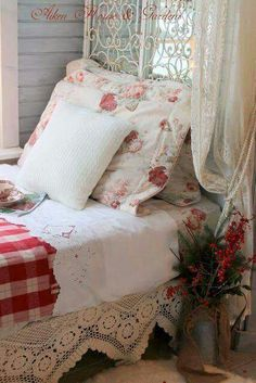 lace bedskirt,,,( use curtain panels )