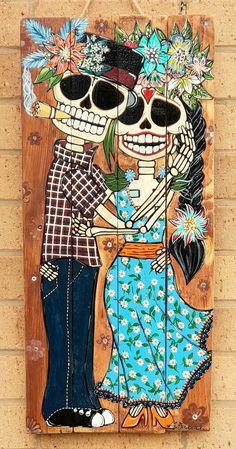 Wood Pallet Art, Wood Art, Painted Wood Walls, Hand Painted, Sugar Skull Artwork, Sugar Skulls, Diy Deco Rangement, Skeleton Art, Skeleton Makeup