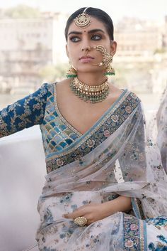 Sabyasachi lehengas feature breath-taking designs, traditional craftsmanship & an eye for extreme detailing. Check out this vast collection of Sabyasachi lehenga images. Sabyasachi Sarees, Indian Sarees, Lehenga Choli, Blue Lehenga, Net Saree, Anarkali, Indian Look, Indian Ethnic Wear, Indian Girls