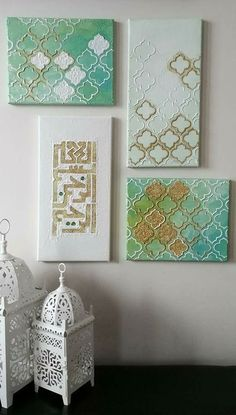 Islamic Art Canvas, Islamic Paintings, Islamic Art Pattern, Pattern Art, Arabic Calligraphy Art, Calligraphy Alphabet, Islamic Wall Decor, Stencil Painting, Stencils