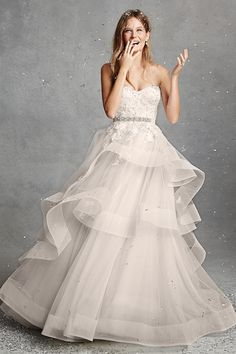 Monique Lhuillier Bliss 2015 Wedding Dresses - Ruffled skirt with beautiful belt detail | www.onefabday.com