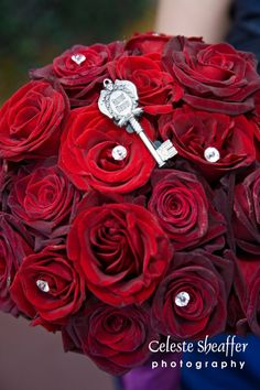 "Skeleton Key On Bouquet-Lady Tremain's key from ""Cinderella"" for Disney themed wedding"