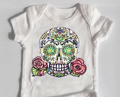 Baby Girl Clothes Tattoo Skull and Roses bodysuit 3 month, 6 month, 12 month White Cotton Rockabilly Baby Grow Punk Rock Baby by BonesNelson on Etsy https://www.etsy.com/listing/225810793/baby-girl-clothes-tattoo-skull-and-roses