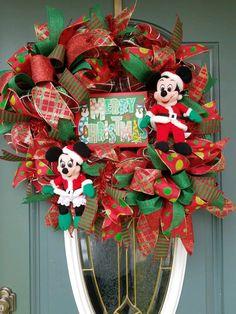 christmas wreath disney christmas mickey and minnie wreath merry christmas wreath red