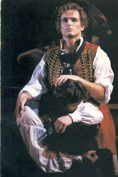 Enjolras (Raymond Saar) comforting Marius (Reece Holland) after Eponine's death -- an important moment in their on-stage friendship that hasn't been as well-defined in recent incarnations.