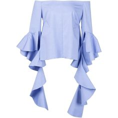 Ellery 'Delores' blouse ❤ liked on Polyvore featuring tops, blouses, blue blouse and blue top