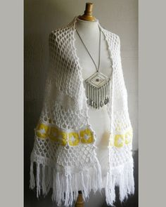 vintage lemon and snow shawl handmade crochet by FiregypsyVintage, $30.09