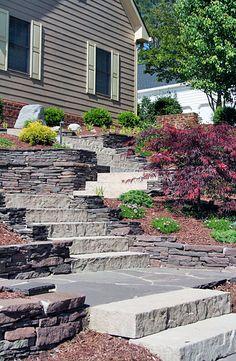 Landscape Elements terraced stone wall.