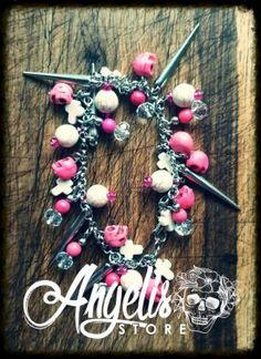 Pink and White Howlite Skull Charm Bracelet Pink White, Skull, Hair Accessories, Charmed, Bracelets, Stuff To Buy, Beauty, Jewelry, Jewlery