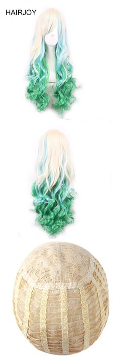 HAIRJOY Woman Long Curly Harajuku Ombre Synthetic Halloween Costume Lolita Cosplay Party Wig 9 Colors