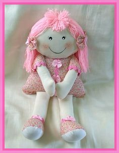 Doll Clothes Patterns, Doll Patterns, Clothing Patterns, Pretty Dolls, Beautiful Dolls, Baby's First Doll, Homemade Dolls, First Birthday Gifts, Craft Bags