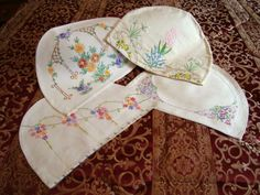 Embroidery Linens & Textiles (pre-1930) Spirited 3 Beautiful Hand Embroidered Linen Tea Cosy Covers.