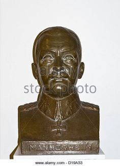Bronze bust of Baron Carl Gustaf Emil Mannerheim who was the Commander-in-Chief of Finland's Defence Forces - Stock Image