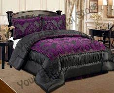 Luxury Quilted Bed Spread Comforter Set - Double and King 8 colours (Black with purple, King) Purple Bedroom Decor, Purple Bedding Sets, Purple Bedrooms, King Size Comforter Sets, King Size Comforters, King Comforter, Black Bedspread, Black Bedding, Purple Home