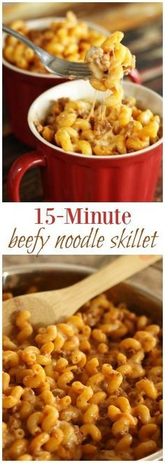 15 Minute Beefy Noodle Skillet Such an easy weeknight dinner. Plus kids LOVE it. Ground beef and noodles with a creamy, cheesy sauce. Plus dinner is DONE in 15 minutes or less! via Favorite Family Recipes beef recipes for kids Ground Beef Recipes For Dinner, Dinner With Ground Beef, Quick Dinner Recipes, Recipe With Ground Beef And Noodles, Quick Ground Beef Meals, Beef Dishes, Pasta Dishes, Easy Pasta Recipes, Cooking Recipes