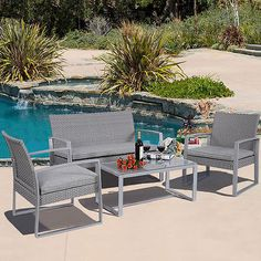 Rattan garden furniture bistro set #companion chair & #table patio set #w/cushion,  View more on the LINK: 	http://www.zeppy.io/product/gb/2/271696356342/