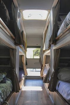 Sleeping bunks in converted school bus.