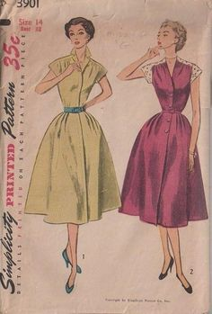 MOMSPatterns Vintage Sewing Patterns - Simplicity 3901 Vintage 50's Sewing Pattern FABULOUS Retro Lucy Contrast Lace Cap Sleeve Step In Day Dress, Pleated Skirt, V Neck or Collar