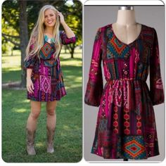 🎄BOGO🎄50% SALE🎄🎉HOST PICK🎉  dress Tribal patchwork-like patterns, gathered waist, 3/4 length sleeves, looks great with boots or sandals alike🎄BOGO🎄50% OFF SALE🎄 ENTIRE CLOSET (excluding men's Polo shirts) lower priced item will be 50% off🎄Contact me to make custom bundle, or bundle yourself & send me the sale price as bundle offer🎄 Dresses