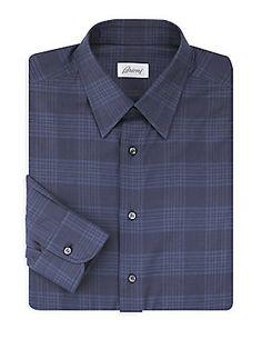 Brioni Plaid Dress Shirt In Night Blue Plaid Dress, Dress Shirt, Casual Shirts For Men, Men Casual, Nick Miller, New Girl, Mens Fashion, Night, Long Sleeve