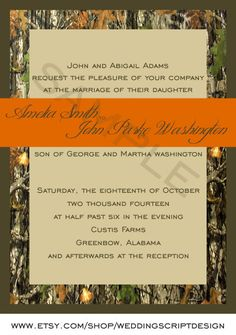 Camo Wedding Invitations. OMG I think I just died and went to heaven