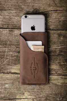 Leather iPhone 6 case / wallet with card by CrazyHorseCraftCom
