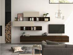 Elegant 'Wooden White' TV Unit by Dall'Agnese Tv Unit Furniture, Modular Furniture, Furniture Plans, Contemporary Furniture, Furniture Design, White Tv Unit, Italian Furniture Brands, Muebles Living, Living Room Tv