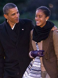 President & Malia Obama. Malia is just gorgeous, and I love everything about her outfit here.
