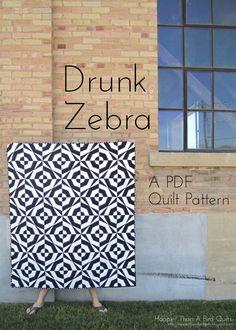Drunk Zebra (PDF) Quilt Pattern. $8.00, via Etsy.