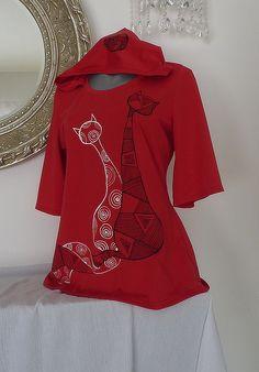 Tunika..kočičí setkání :) Bell Sleeves, Bell Sleeve Top, Textiles, Shibori, Polo, Women, Fashion, Log Projects, Painted Clothes