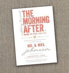 The Morning After Wedding Brunch Invitation Diy Invite Gold C