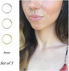 """14KT Yellow Gold Fixed Bead Ball Nose Ring Septum Hoop 1//4/"""" 6.4mm 22 Gauge 22G"""