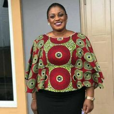 Beautiful Ankara blouse,it could be worn to the office or dinner night. African Maxi Dresses, Latest African Fashion Dresses, African Dresses For Women, African Print Fashion, Africa Fashion, African Attire, African Blouses, African Tops, Ankara Blouse