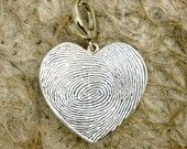 Custom Designed and Personalized Heart Shaped Pendant in Sterling Silver with Two Finger Prints