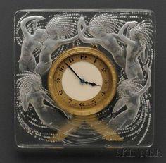 Rene Lalique Mantel Clock, 1920s