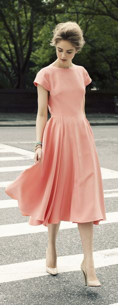 Midi dress featuring crew neck and short sleeves simple dresses, pretty dre Short Sleeve Prom Dresses, Modest Dresses, Simple Dresses, Pretty Dresses, Beautiful Dresses, Short Sleeves, Midi Dresses, Peach Dresses, Coral Dress