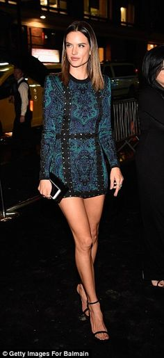 We love this embroidered teal Balmain minidress worn by Alessandra Ambrosio at The MET After Party #modelstyle...x