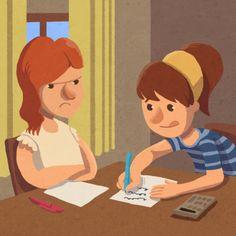 """Ilustración del cuento """"Martina no quiere hacer los deberes"""""""