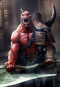 Just to try to mix photobash + Oni warrior Fantasy Kunst, Fantasy Rpg, Fantasy Artwork, Fantasy Creatures, Mythical Creatures, Character Art, Character Design, Japanese Folklore, Ange Demon