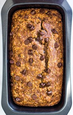 Gluten Free Vegan Banana Bread with Chocolate Chips - one bite of this moist banana bread and you'd never guess it's gluten free, oil free and nut free!