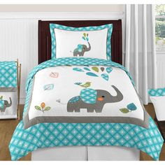 Sweet Jojo Designs Mod Elephant 3-Piece Full/Queen Bedding Set in Turquoise/White
