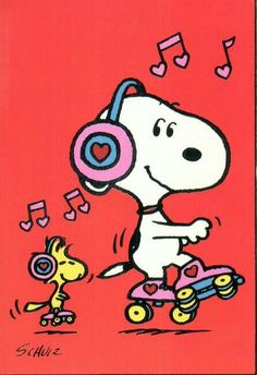 'Roller Skating', with Snoopy & Woodstock.❤️