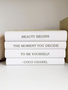 Something a little different in terms of home decor: Coco Chanel Decor Chanel Quote Decorative Books Chanel Book, Friend Gift, Book Lover Gift, Housewarming Gift, Bookshelf Decor, Book Decor $72.00 USD by ArtfulLibrary, based in  Pennsylvania USA and selling on Etsy
