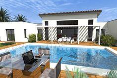 plan maison moderne piscine PACIFIC
