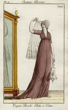 1800-1801. Toquet brodé - robe à collet - le costume parisien an 9 (1800 - 1801)