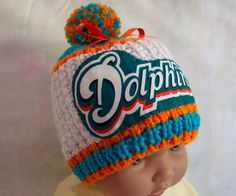 official photos 78334 80dcf Hand made knit NFL Miami Dolphins baby hat 012M by hart2hartcrafts,  25.99