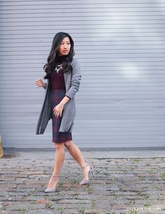 Burgundy + gray fall office outfit // Ann Taylor plaid pencil skirt + turtleneck sweater + long cardigan for work