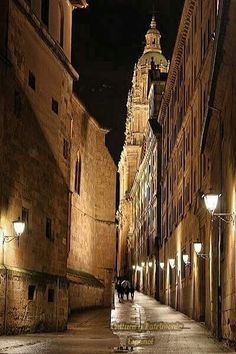 Salamanca,Calle Compañia Madrid, Nocturne, Monuments, Street, Cities, Architecture, Photos, Spain