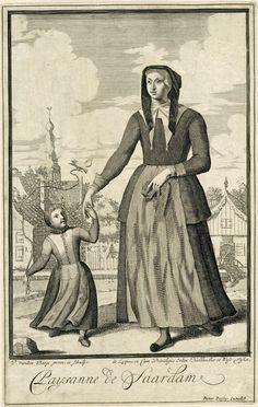 Pieter van den Berge   Boerin uit Zaandam, Pieter van den Berge, 1669 - in or before 1689   Een boerin uit Zaandam loopt met haar dochtertje langs een vaart. Het meisje houdt een touwtje vast waaraan een vogel vastgebonden is. Prent uit een serie van 10 prenten met dorpelingen die klederdrachten dragen.